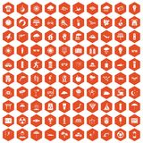 100 sun icons hexagon orange. 100 sun icons set in orange hexagon isolated vector illustration Stock Photography