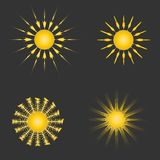 Set of sun icons. Sun icons isolated on black Royalty Free Stock Photography