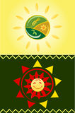 Sun icons. One with summer symbols and one in Mexican style Royalty Free Stock Photo