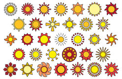 Sun icons. A series of illustrations of different style icons depicting the sun Stock Photos