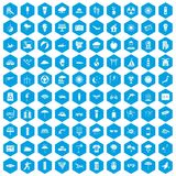 100 sun icons set blue. 100 sun icons set in blue hexagon isolated vector illustration Vector Illustration