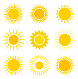 Sun icons set. Sun icons collection. Vector illustration Royalty Free Stock Photography