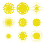 Sun icons set Royalty Free Stock Photos