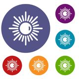 Sun icons set. In flat circle red, blue and green color for web Royalty Free Stock Photo