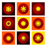 Sun icons set in flat style Royalty Free Stock Photography