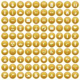 100 sun icons set gold. 100 sun icons set in gold circle isolated on white vector illustration Stock Photo