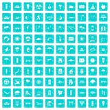 100 sun icons set grunge blue. 100 sun icons set in grunge style blue color isolated on white background vector illustration Royalty Free Stock Photography