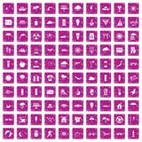 100 sun icons set grunge pink. 100 sun icons set in grunge style pink color isolated on white background vector illustration Stock Photos
