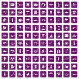 100 sun icons set grunge purple. 100 sun icons set in grunge style purple color isolated on white background vector illustration Stock Photo