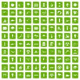 100 sun icons set grunge green. 100 sun icons set in grunge style green color isolated on white background vector illustration Royalty Free Stock Image