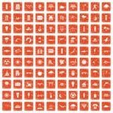 100 sun icons set grunge orange. 100 sun icons set in grunge style orange color isolated on white background vector illustration Vector Illustration