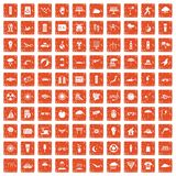 100 sun icons set grunge orange. 100 sun icons set in grunge style orange color isolated on white background vector illustration Royalty Free Stock Photography