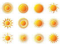 Sun icons set. Isolated sun icons set on white background Stock Photography