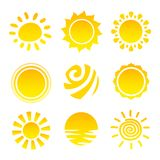 Sun Icons Set Royalty Free Stock Images