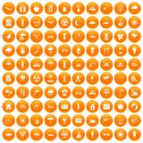 100 sun icons set orange. 100 sun icons set in orange circle isolated on white vector illustration Royalty Free Stock Images