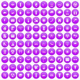 100 sun icons set purple. 100 sun icons set in purple circle isolated on white vector illustration Royalty Free Stock Photos