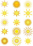 Sun Icons. Vector Illustration Royalty Free Stock Photography