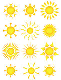 Sun icons. Vector illustration Royalty Free Stock Photos