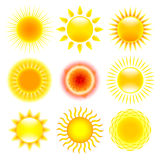 Sun icons vector set Royalty Free Stock Image