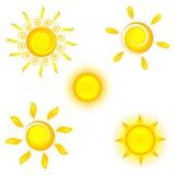 Sun icons. On white background Royalty Free Stock Photo