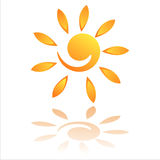Sun-Ikone getrennt auf Weiß Stockbilder