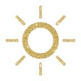 Sun-Ikone mit dem Funkelneffekt, lokalisiert auf weißen Hintergrund Entwurfsikone, Vektorpiktogramm Symbol von den goldenen Parti Lizenzfreie Stockfotografie