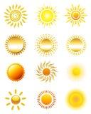 Sun-Ikonen Lizenzfreie Stockbilder