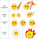 Sun-Ikonen eingestellt Stockfotografie