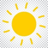 Sun-Ikonen-Vektor-Illustration Sun mit Strahlnsymbol Einfaches busine Lizenzfreies Stockbild