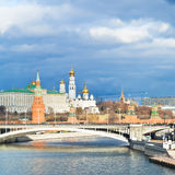 Sun illuminated Moskva River and Moscow Kremlin Stock Photos