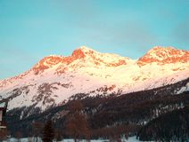 Sun-illuminated Mountains Stock Images