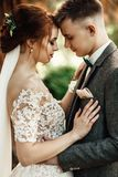 Sun illuminates tender faces of pretty wedding couple hugging in. Beautiful young couple walking in the autumn park smiling brightly Stock Image