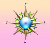 Sun illustration. A glossy, colorful illustration of the sun as a compass stock illustration