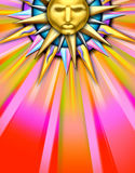 Sun illustration. A glossy, colorful illustration of the sun with a face vector illustration