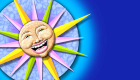 Sun illustration. A glossy, colorful illustration of the sun with a smiling face Stock Photos