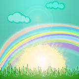 Sun illustration. Colored illustration with sun rising in the grass, clouds and rainbow Royalty Free Stock Photo