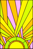 Sun illustration-stained glass. A glossy, colorful illustration of the sun made of stained glass Stock Photography