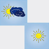 The sun. The image changes in the weather. Cheerful sun in clear weather and gloomy, if it is closed with clouds Stock Photos