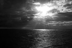 Sun In The Sky, Black And White Royalty Free Stock Photography
