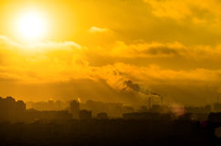 Sun industry city landscape clouds environment pollution.  stock photos