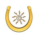 Sun inside the horseshoe. Good luck. Vector illustration vector illustration