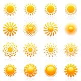 Sun. Insieme del modello di marchio di vettore. Immagine Stock