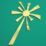 Sun irradia con el color retro blanco y verde ilustración 3D Foto de archivo