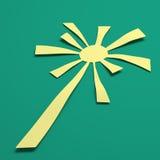 Sun irradia con el color retro blanco y verde ilustración 3D Imagenes de archivo
