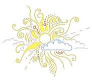 Sun irradia o ornamento Imagens de Stock