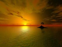 Sun island. Ocean, 3d, abstract, background, cloud, cloudy, design, heaven, light, marine, sea, sky, sky-sea, skyline, spring, water, cloud-scape, sea-scape Stock Photography
