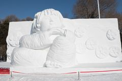 Snow sculptures - Harbin Ice Snow Sculptures 2018 life like snow carvings in fine detail Royalty Free Stock Images