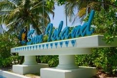 Sun Island resort & spa logo. Sun Island resort & spa logo sign made from big blue letters Royalty Free Stock Photos