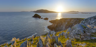 Sun between Islands. Scenic irish west coast, looking from dingle peninsula (Europe`s most westerly mainland point) in western ireland towards blasket islands Stock Images