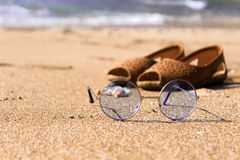 Sun küsste Sand Stockbild